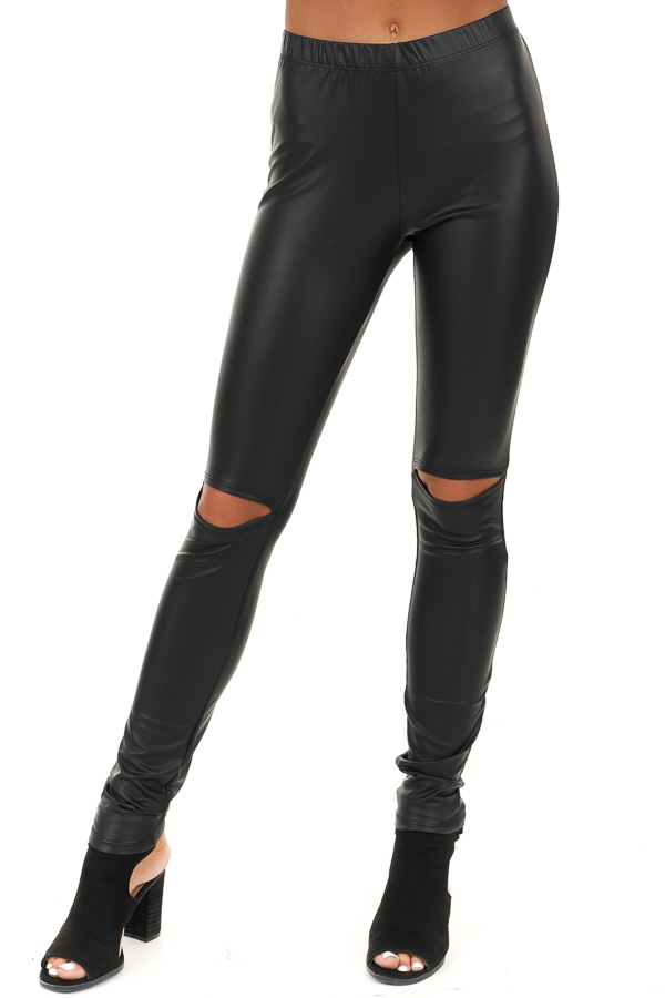 Jet Black Faux Leather Leggings with Open Knee Detail front view