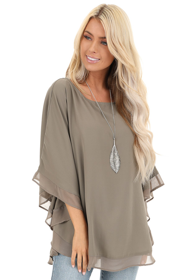Dusty Olive Rounded Neckline Top with Batwing Sleeves front close up