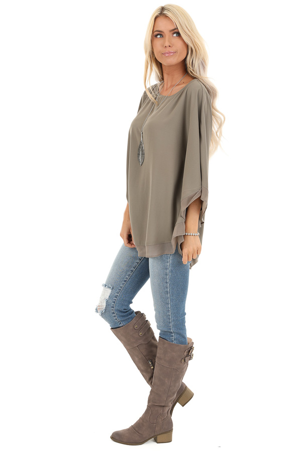 Dusty Olive Rounded Neckline Top with Batwing Sleeves side full body