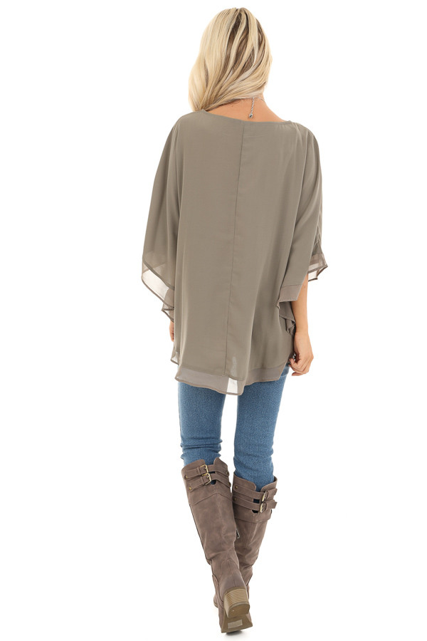 Dusty Olive Rounded Neckline Top with Batwing Sleeves back full body