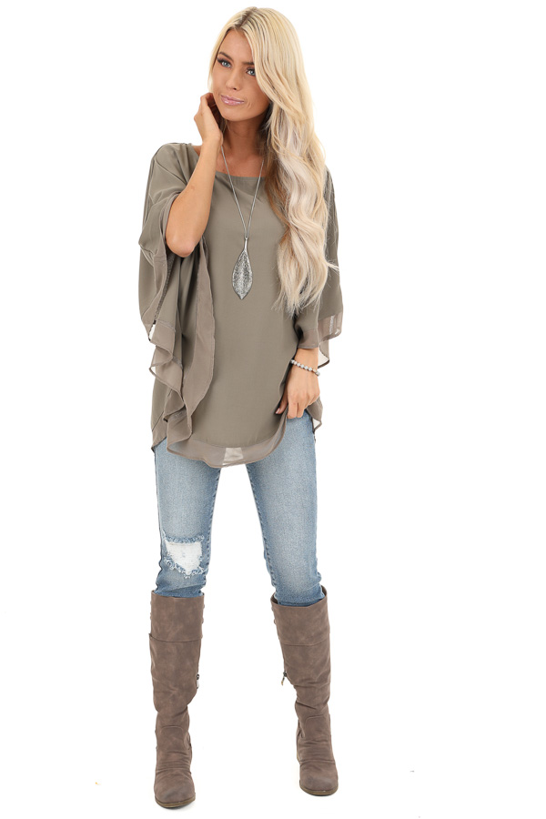 Dusty Olive Rounded Neckline Top with Batwing Sleeves front full body