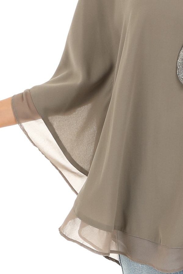 Dusty Olive Rounded Neckline Top with Batwing Sleeves detail