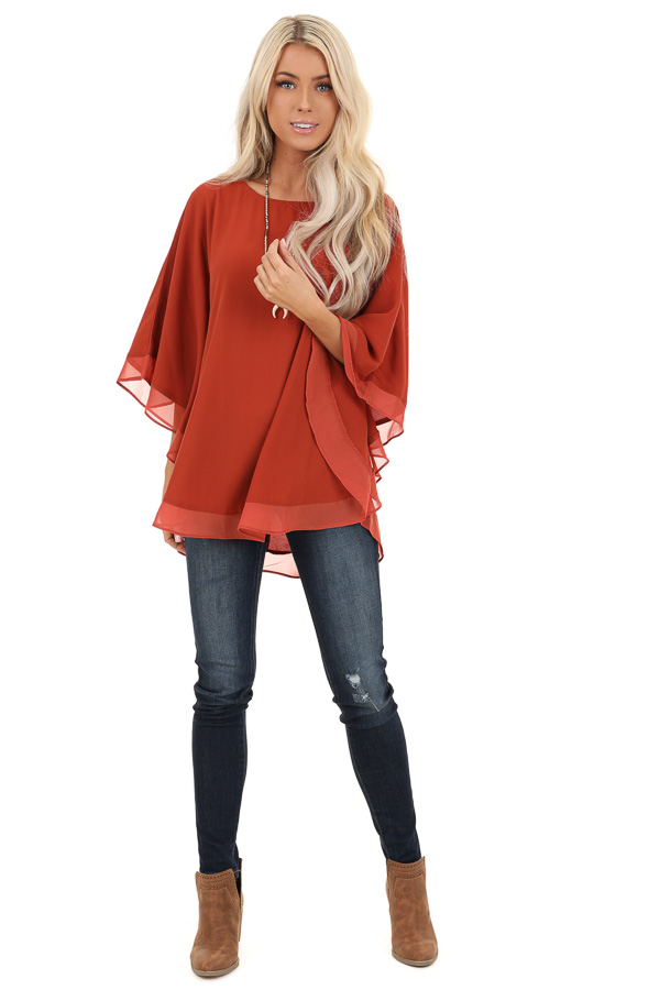 Brick Rounded Neckline Top with Batwing Sleeves front full body