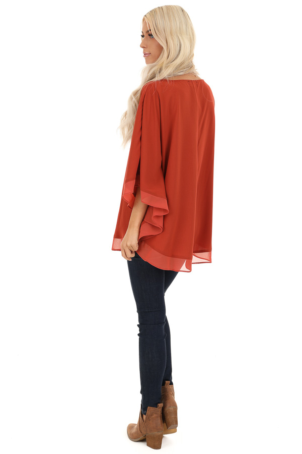 Brick Rounded Neckline Top with Batwing Sleeves back full body