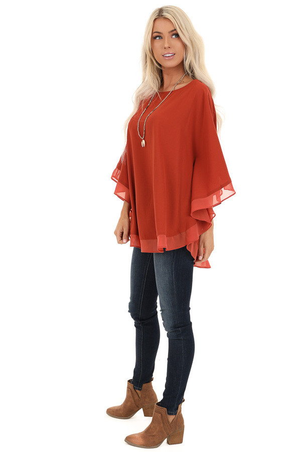 Brick Rounded Neckline Top with Batwing Sleeves side full body