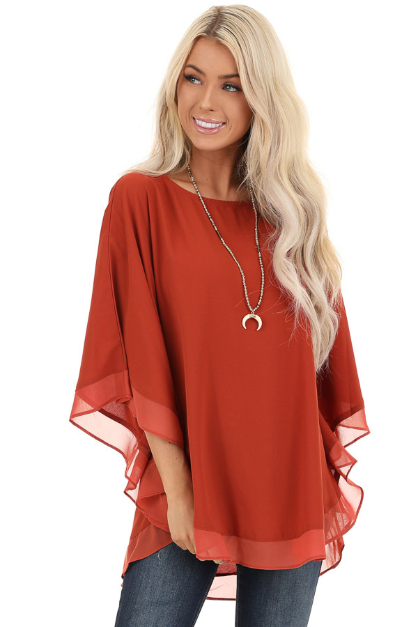 Brick Rounded Neckline Top with Batwing Sleeves front close up