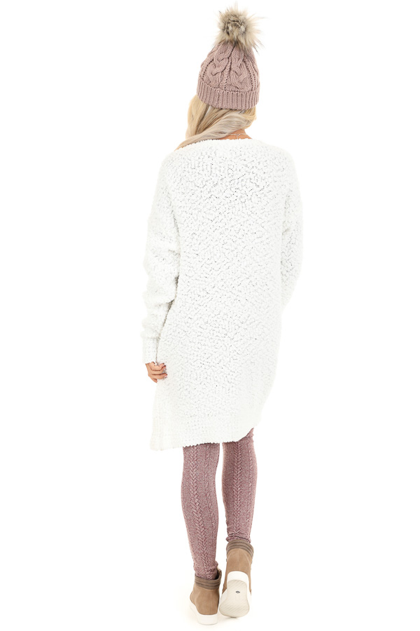 Ivory Popcorn Knit Long Sleeve Cardigan with Front Pockets back full body