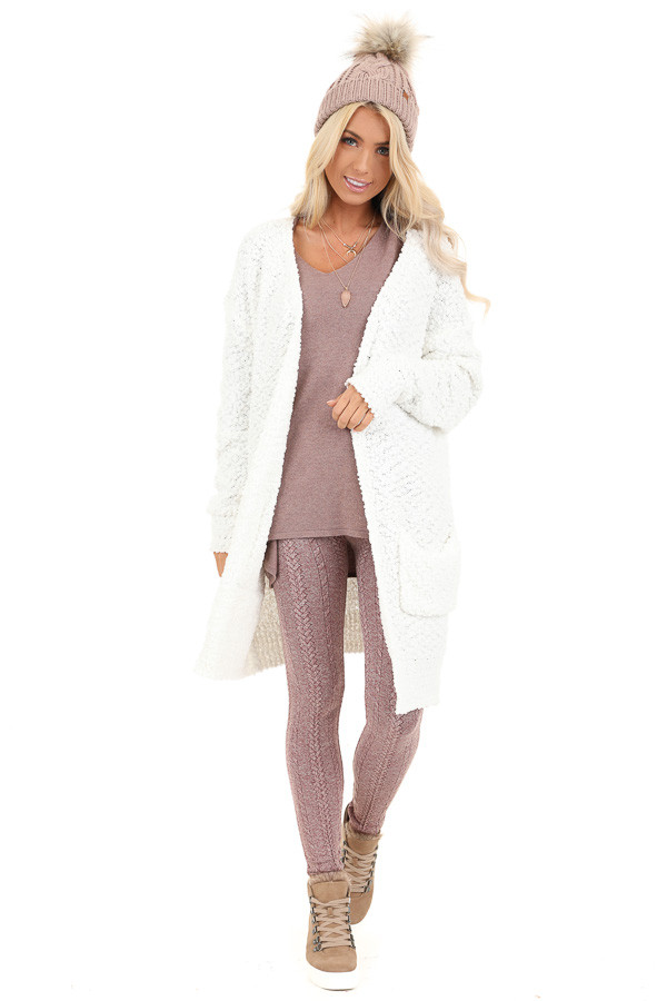 Ivory Popcorn Knit Long Sleeve Cardigan with Front Pockets front full body