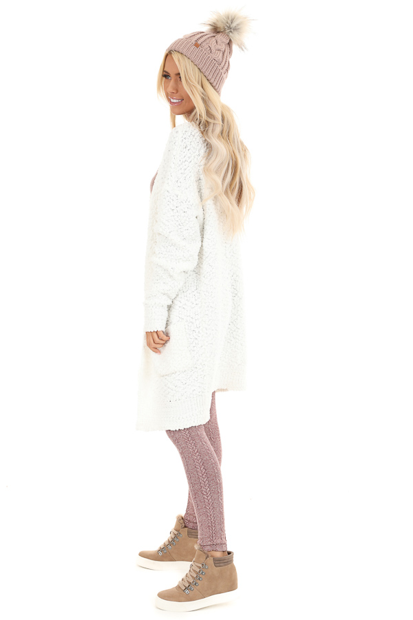Ivory Popcorn Knit Long Sleeve Cardigan with Front Pockets side full body