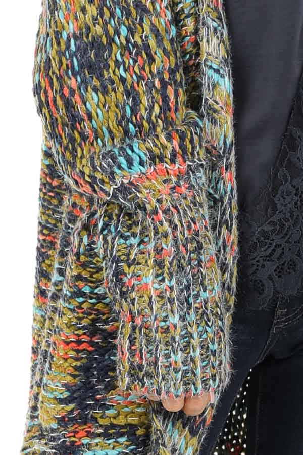 Navy Multi Colored Long Sleeve Knit Cardigan with Pockets detail