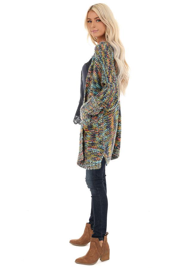 Navy Multi Colored Long Sleeve Knit Cardigan with Pockets side full body