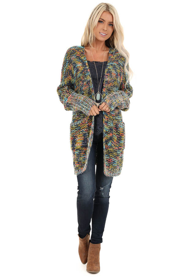 Navy Multi Colored Long Sleeve Knit Cardigan with Pockets front full body