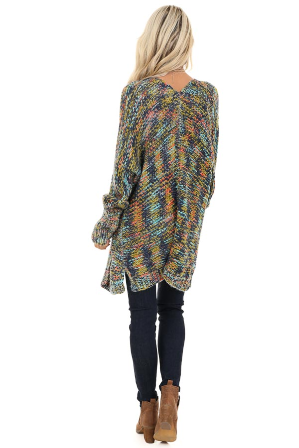Navy Multi Colored Long Sleeve Knit Cardigan with Pockets back full body