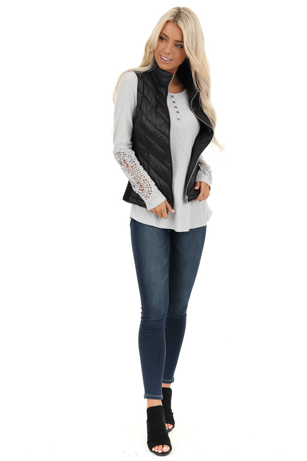 Black Lightweight Vest with Ribbed Knit Contrast front full body