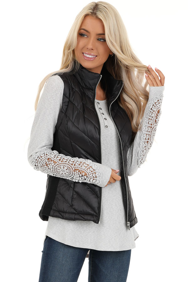 Black Lightweight Vest with Ribbed Knit Contrast front close up