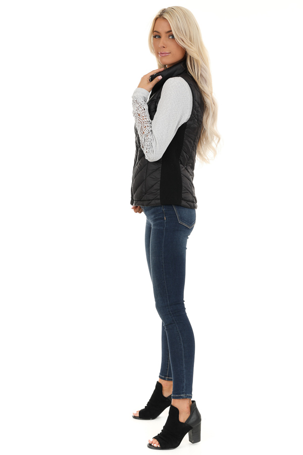 Black Lightweight Vest with Ribbed Knit Contrast side full body