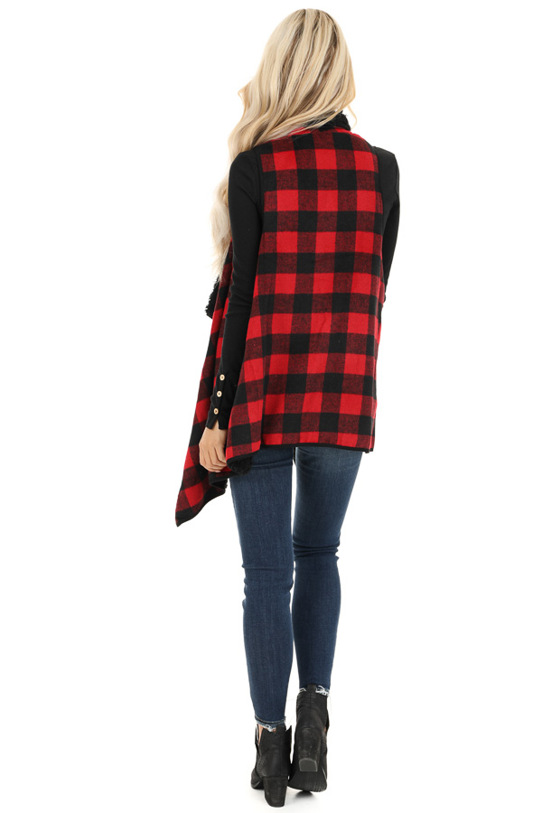 Red and Jet Black Buffalo Plaid Fur Lined Vest back full body