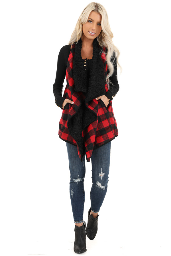 Red and Jet Black Buffalo Plaid Fur Lined Vest front full body