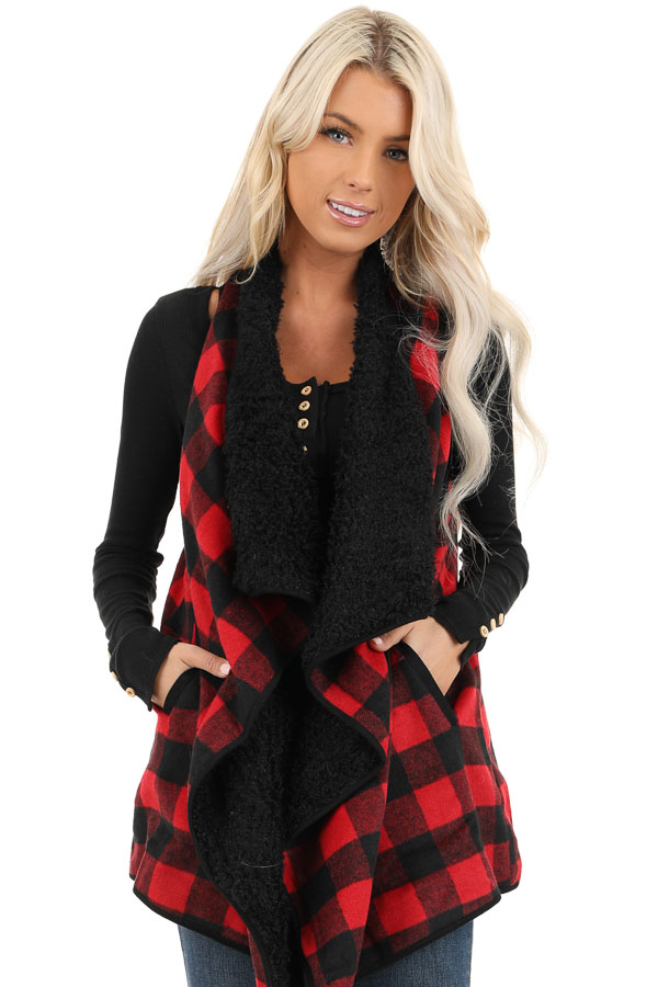 Red and Jet Black Buffalo Plaid Fur Lined Vest front close up