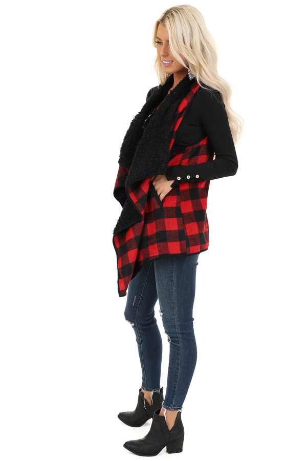 Red and Jet Black Buffalo Plaid Fur Lined Vest side full body
