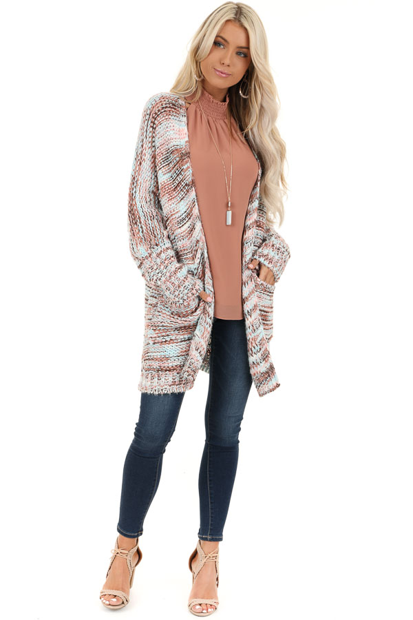 Baby Pink Multi Color Long Sleeve Knit Cardigan with Pockets front full body