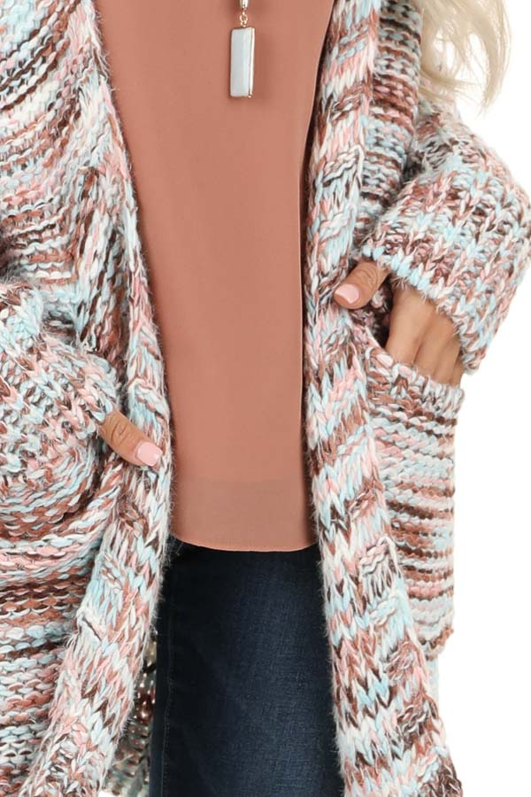 Baby Pink Multi Color Long Sleeve Knit Cardigan with Pockets detail