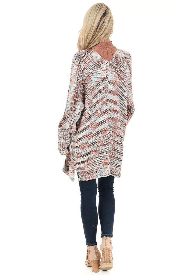 Baby Pink Multi Color Long Sleeve Knit Cardigan with Pockets back full body