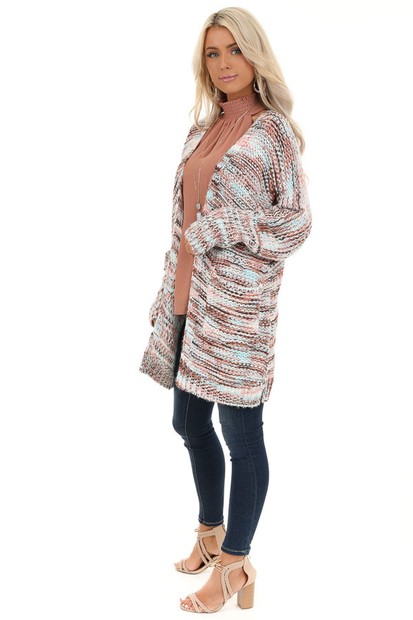 Baby Pink Multi Color Long Sleeve Knit Cardigan with Pockets side full body