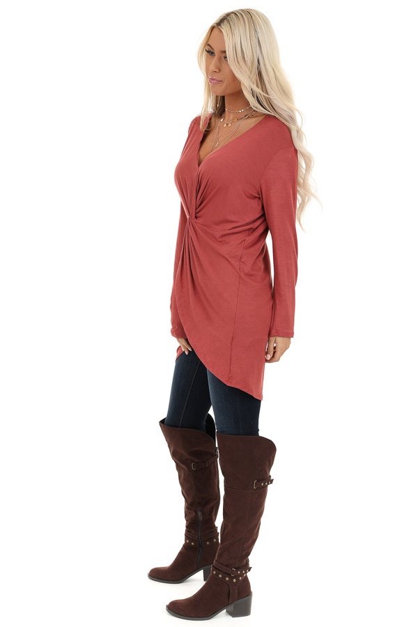 Terra Cotta Long Sleeve Tunic Top with Twisted Detail side full body