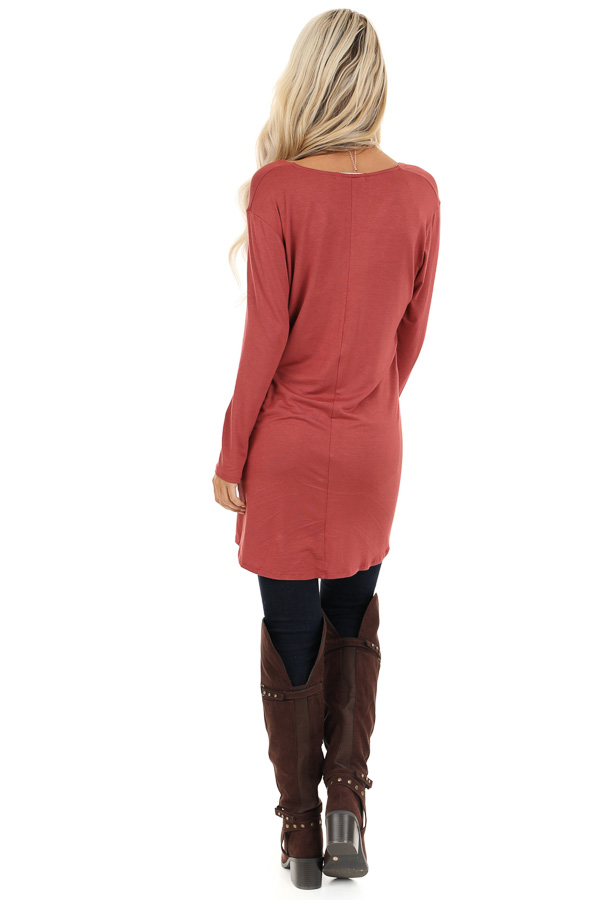 Terra Cotta Long Sleeve Tunic Top with Twisted Detail back full body
