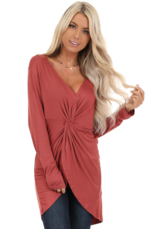 Terra Cotta Long Sleeve Tunic Top with Twisted Detail front close up
