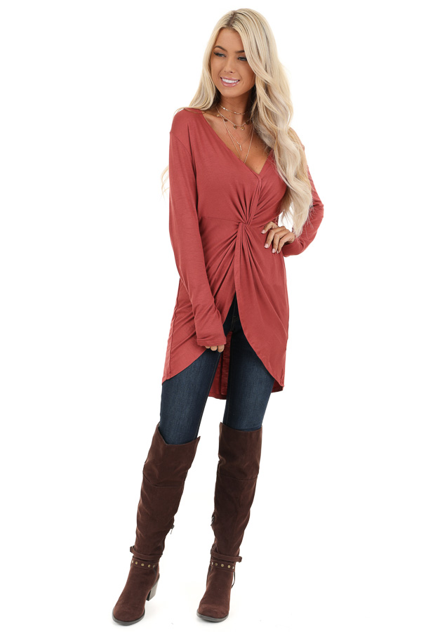 Terra Cotta Long Sleeve Tunic Top with Twisted Detail front full body