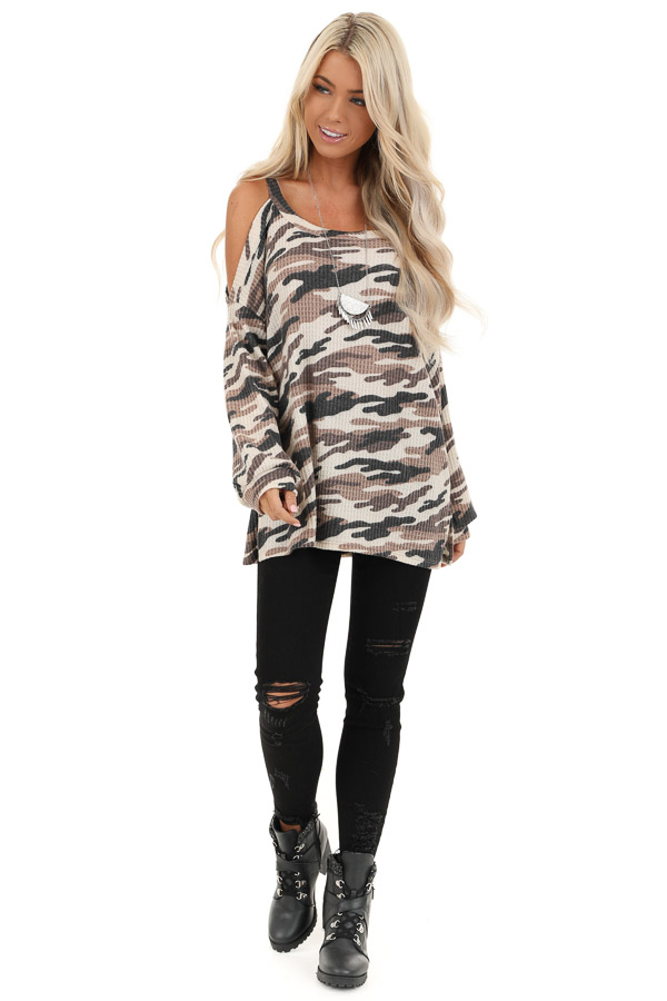 Cream and Mocha Camo Print Waffle Knit Cold Shoulder Top front full body