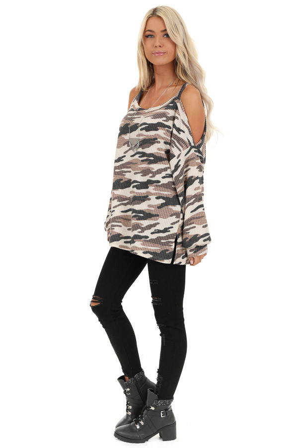Cream and Mocha Camo Print Waffle Knit Cold Shoulder Top side full body