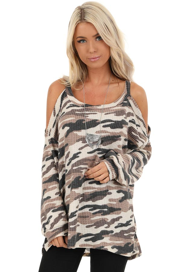 Cream and Mocha Camo Print Waffle Knit Cold Shoulder Top front close up