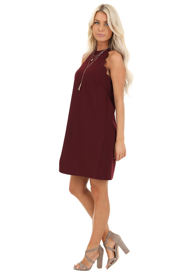 Burgundy Sleeveless Halter Dress with Scalloped Edges side full body