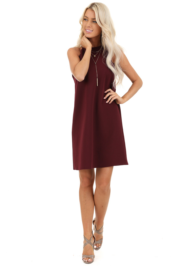 Burgundy Sleeveless Halter Dress with Scalloped Edges front full body