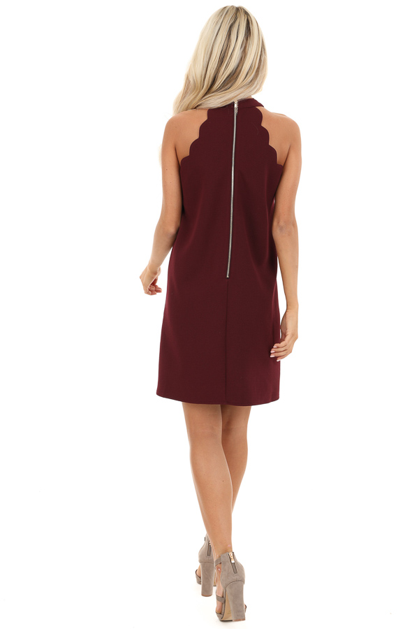 Burgundy Sleeveless Halter Dress with Scalloped Edges back full body
