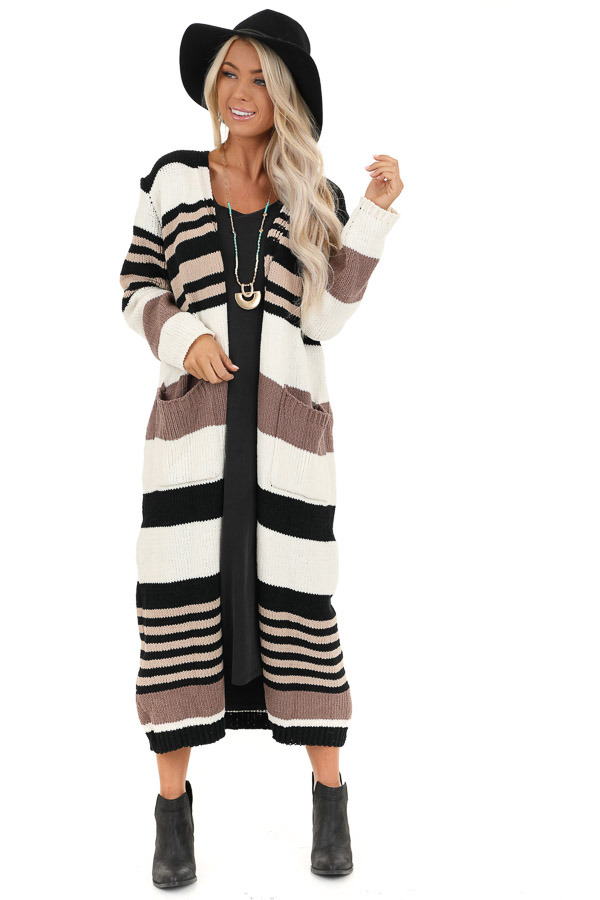 Camel Color Block Striped Long Cardigan with Pockets front full body