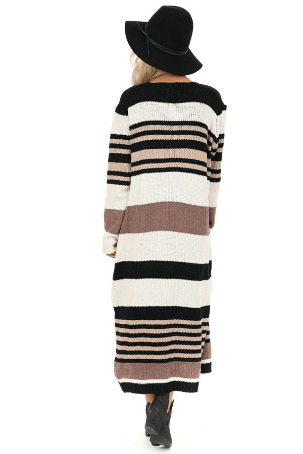 Camel Color Block Striped Long Cardigan with Pockets back full body