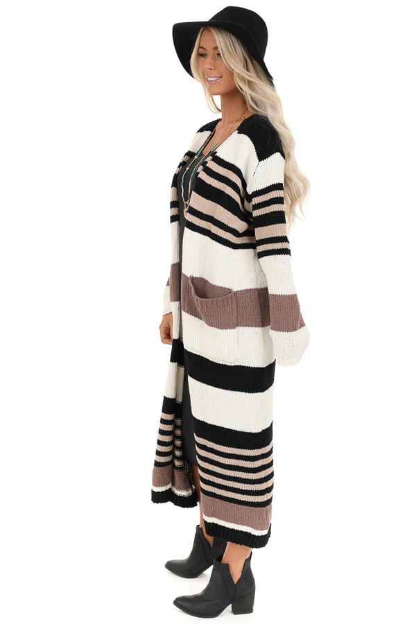Camel Color Block Striped Long Cardigan with Pockets side full body