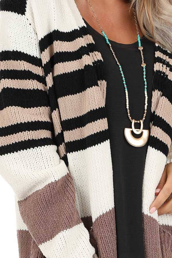Camel Color Block Striped Long Cardigan with Pockets detail