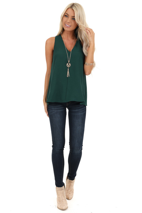 Juniper Sleeveless Woven Tank Top with Back Cross Detail front full body