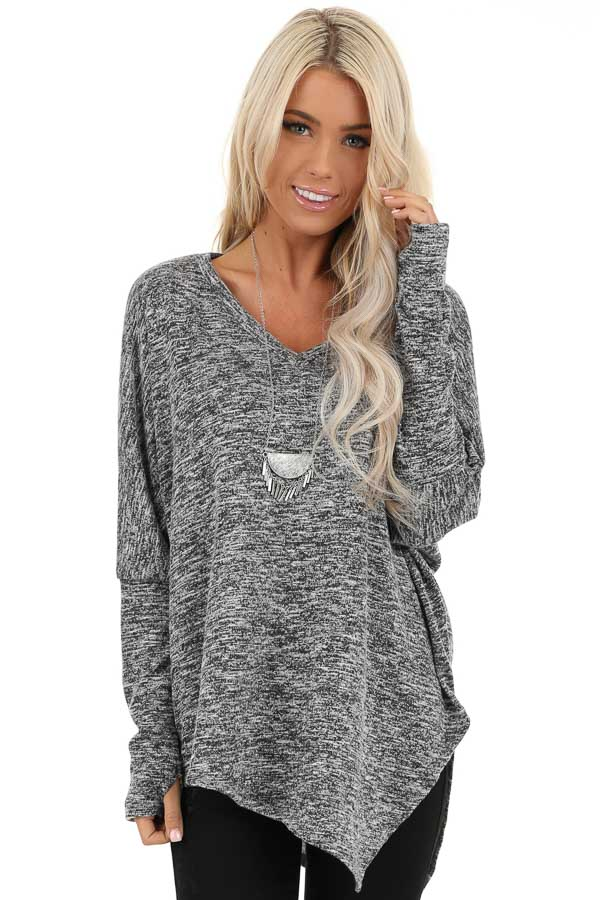 Charcoal Two Tone Oversized Top with Asymmetrical Hemline front close up
