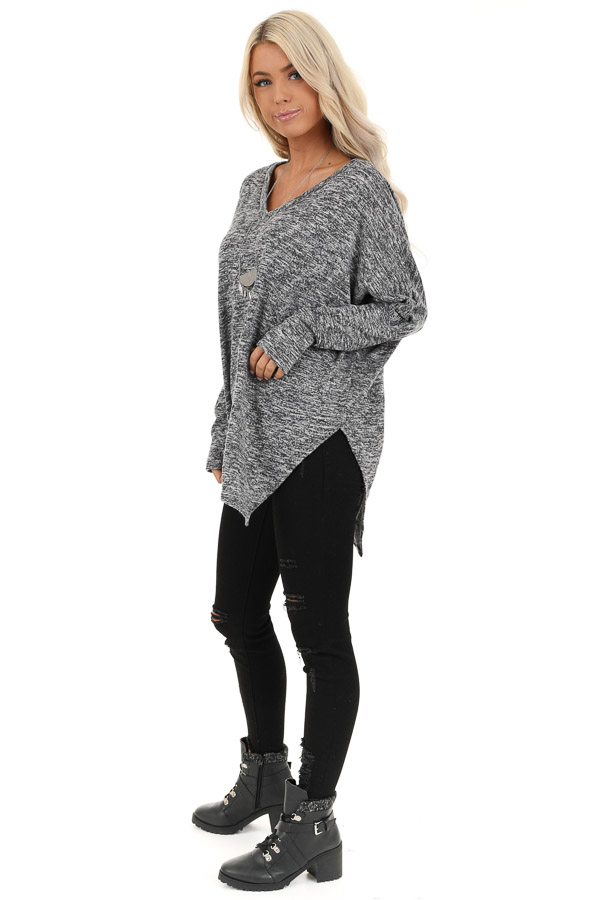 Charcoal Two Tone Oversized Top with Asymmetrical Hemline side full body