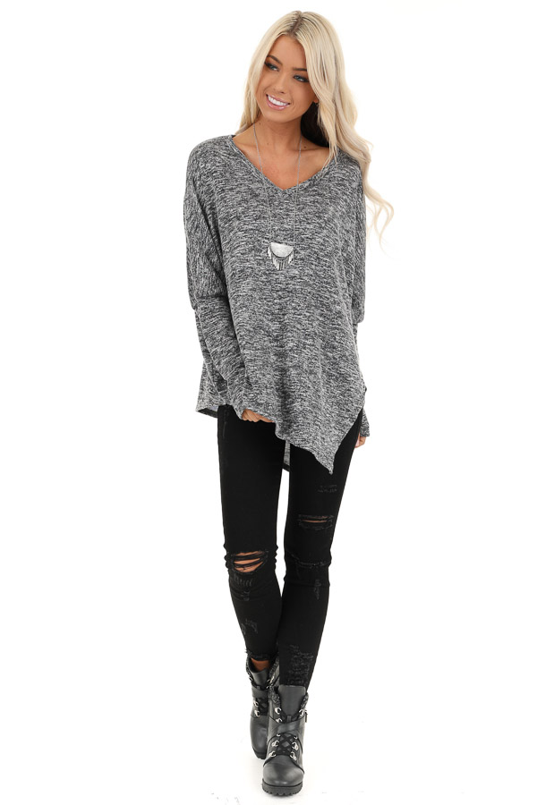 Charcoal Two Tone Oversized Top with Asymmetrical Hemline front full body
