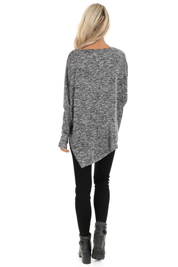 Charcoal Two Tone Oversized Top with Asymmetrical Hemline back full body