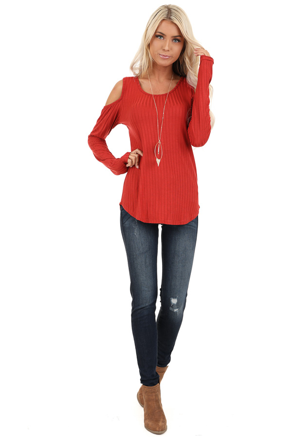 Rust Long Sleeve Ribbed Knit Top with Cold Shoulders front full body