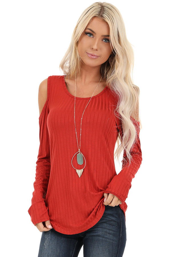 Rust Long Sleeve Ribbed Knit Top with Cold Shoulders front close up