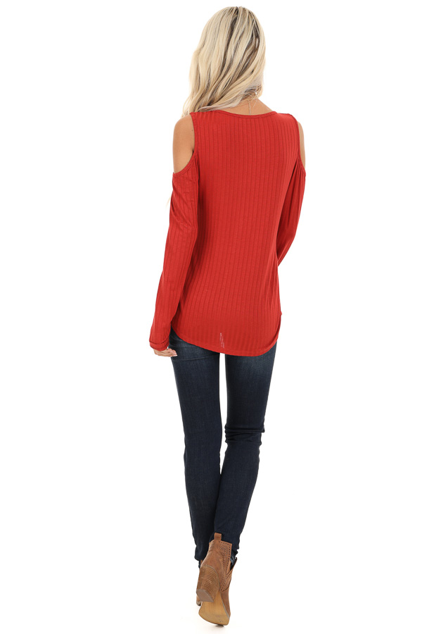 Rust Long Sleeve Ribbed Knit Top with Cold Shoulders back full body